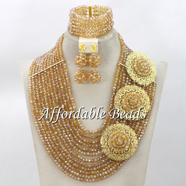 цена на Gold Nigerian Jewelry Set Hot Selling African Wedding Beads Handmade Design New Arrival ABW118
