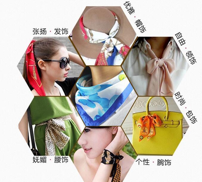 Fashion 50*50cm Imitated Silk Square Scarf Colorful Women Fashion Brand High Quality Satin Scarves Shawl 20 style-1