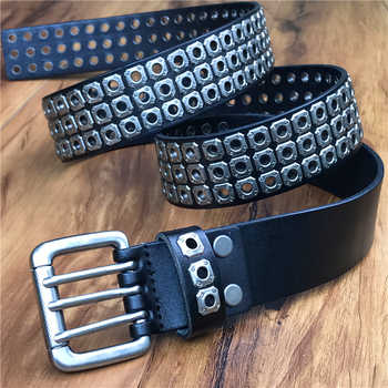 Punk Men Belt Genuine Leather Belt Male Cowboy Rock Rivet Black Strap Ceinture Homme Riem Jeans Studded Western Belt MBT0162 - DISCOUNT ITEM  47% OFF All Category