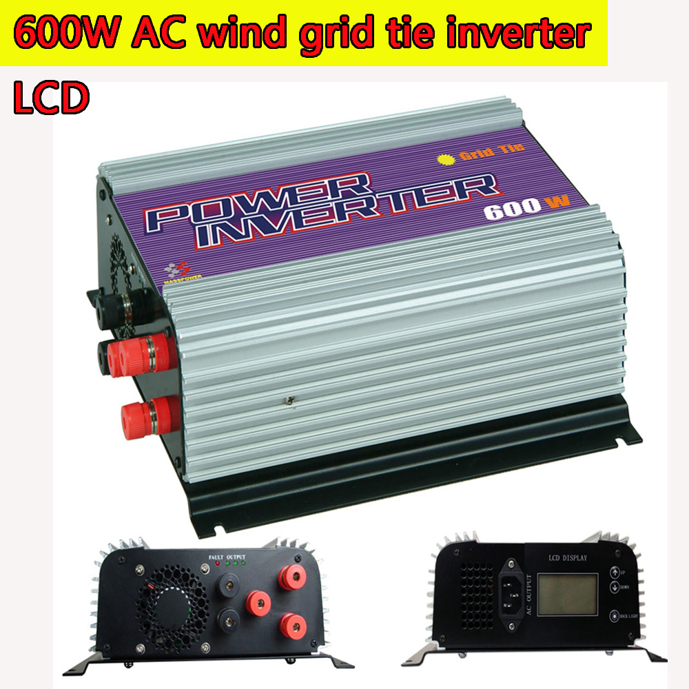 600W LCD Grid Tie Inverter with Dump Load for  3 Phase AC Wind Turbine Generator MPPT Pure Since Wave Wind On Grid Inverter NEW solar power on grid tie mini 300w inverter with mppt funciton dc 10 8 30v input to ac output no extra shipping fee