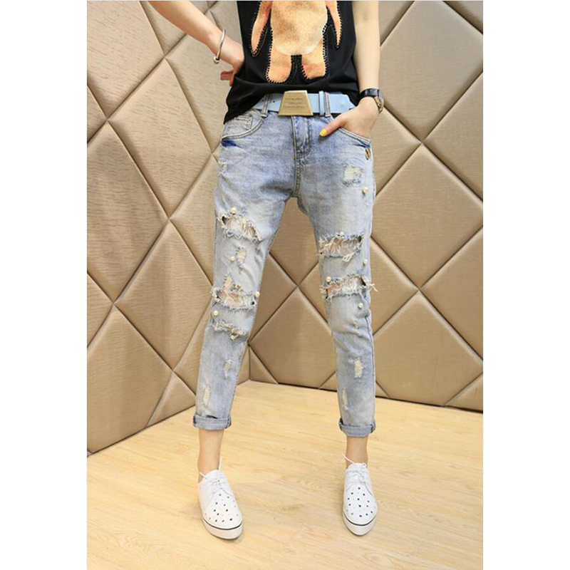 Women Pearl Beading Jeans Sexy Ripped Hole Jeans Ankle-length High Waist Pencil Denim Pants Beading Flares Slim JeansLace pinne 2017 ripped jeans women casual denim ankle length boyfriend pants women floral embroidered flares hole female slim pencil pants