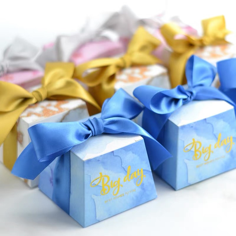 50pcs Vintage Floral Trapezoid Candy Boxes Wedding Birthday Party Gift Favor