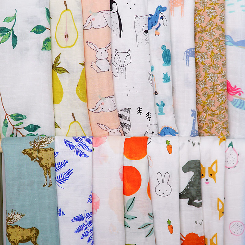 60*60 Muslin Bamboo Cotton Baby Blanket Swaddle Soft Cartoon Animal Print Scarf Multifunction Wrap Burp Cloths Towel Accessories
