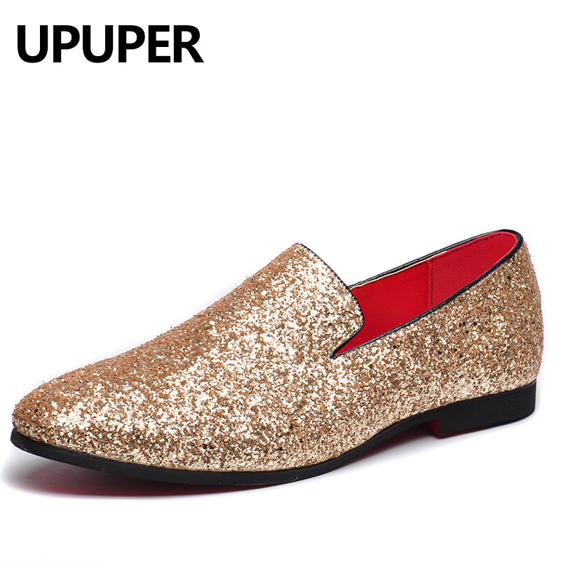 Gold Mens Shoes Casual Fashion Nightclub Bars Party Superstar Shoes Slip-on Gold Sequin Wedding Mens Loafers mocassin homme 25mm mens boys gold