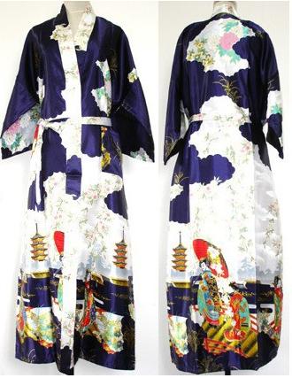 Promoción Azul Marino Chino Femenino ropa de Noche de Satén Clásico Floral Robe Kaftan Vestido Ocasional Dropshipping Sml XL XXL XXXL