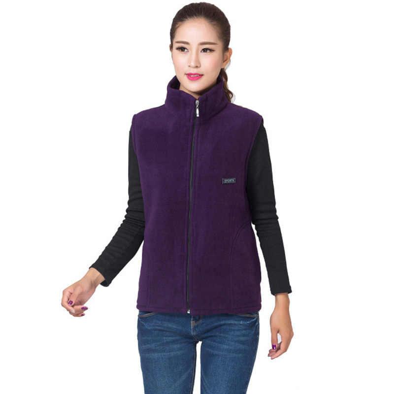 Осень 2018 г. для женщин флисовый жилет женский Slim Fit без рукавов Жилеты куртка на молнии Верхняя одежда плюс размеры 4XL