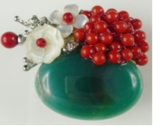 Semi-precious Stone Brooch For Women Green stone With Shell Flower Brooch Free Shipping pendant and brooch double use cake brooch
