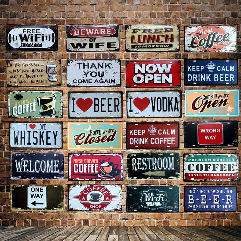 [ WellCraft ] COFFEE BEER OPEN WIFI License plate signs  Wall Plaque Poster Decor for Internet Cafes Room Iron Painting HY-1710
