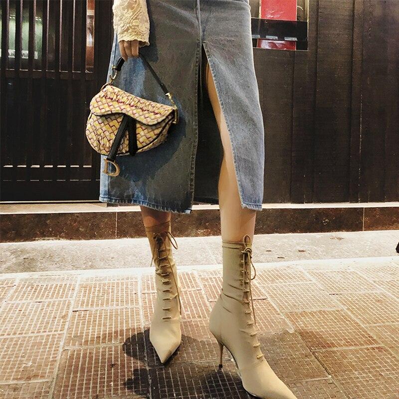 Stretch Tissu Bout Automne Chaussures Croix Up Show Mujer Chaussons Femme Dentelle Botas Sexy Cheville Pointu Haute Talons Hiver As attaché Femmes Bottes ARL54jq3