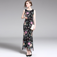 Slim Woman Embroidery Party Dress O neck Sleeveless Ladies Floral Maxi Dress Slim Bodycon Mesh Long Dresses for Woman