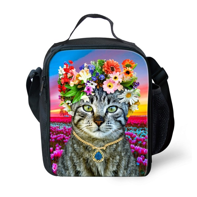 Moda Portátil Isolado Lunch Bag Kawaii Gato da Cópia Do Cão Comida Térmica Picnic Lunch Bags para Mulheres Homens crianças Lunch Box Bag Tote