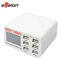 High Quality 6 Port USB Charger With Digital Display Fast Smart Charging Station For Smart Phone