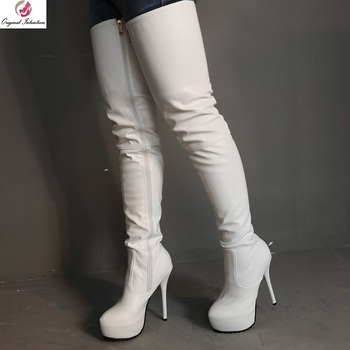 Original Intention Sexy Women Over Knee Boots Zipper Round Toe Platform Thin High Boots Sexy White Shoes Woman Plus Size 4-20