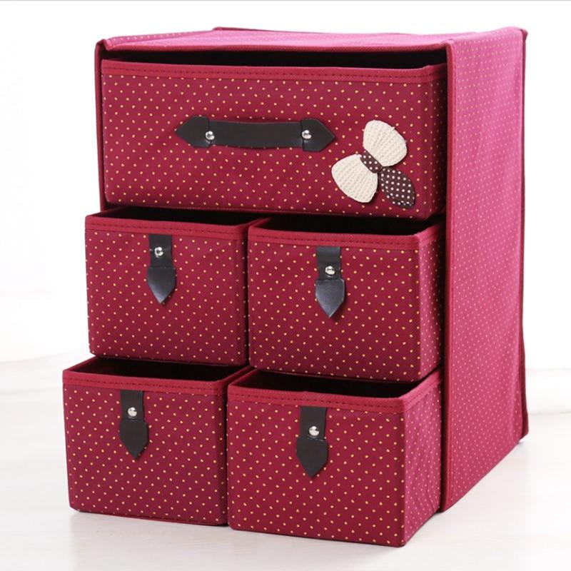 Pawaka 3 Layer Non-Woven Wardrobe Foldable storage bag Drawer Storage Boxs Clothing Storage Bag Multi-layer Box Storage Bags