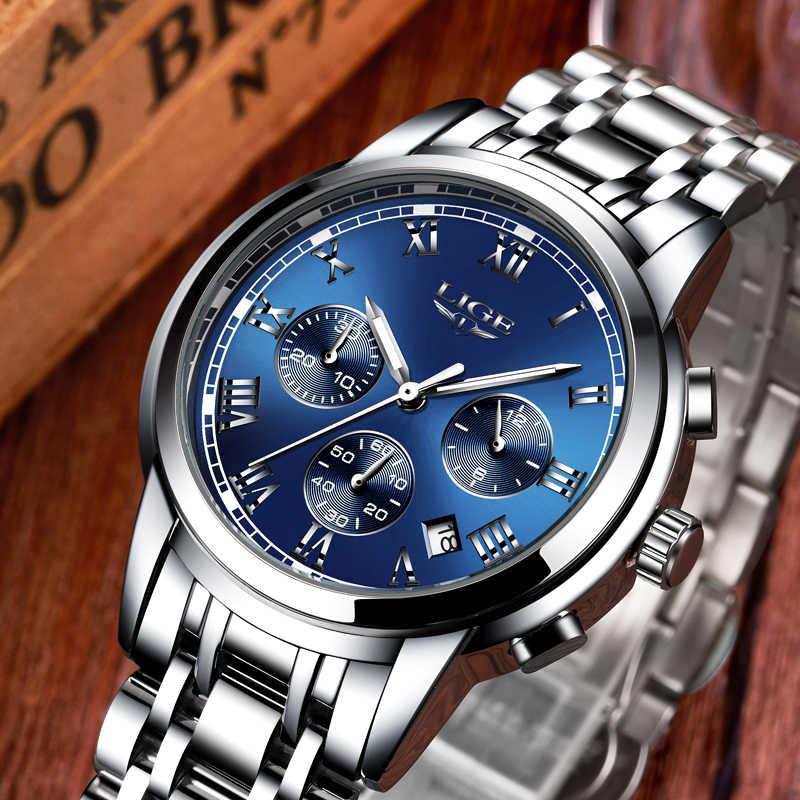 2018 nowa marka luksusowych zegarków mężczyzn LIGE chronografu mężczyzna męskie sportowe zegarki wodoodporna pełny stalowy kwarcowy zegarek męski Relogio Masculino
