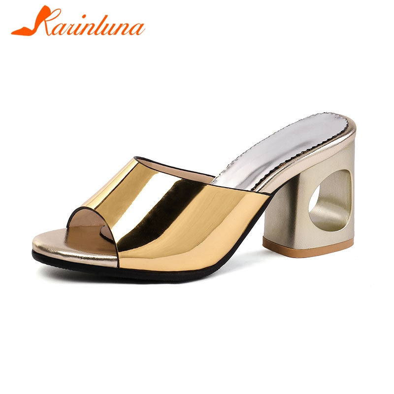 KARINLUNA Brand New Plus Size 32-48 Fretwork Ladies High Heels Mules Slip On Women Shoes Woman Casual Party Summer Slippers