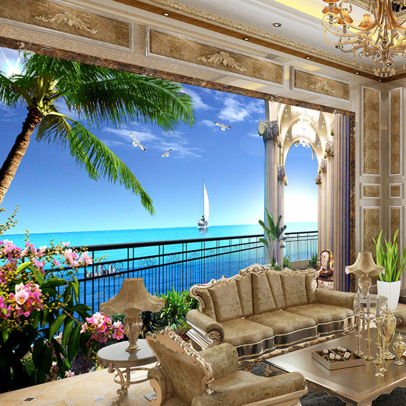 3d balcony mural sea wall window living custom background space murals bedroom tv paper wallpapers beddingandbeyond club seaview expand decor
