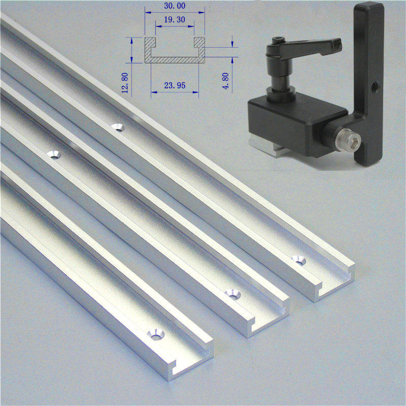 1 Set Miter Track Stop And 300-800mm T-Slot T-Track Slot Miter Aluminium Alloy For Woodworking Tool Miter Track Stop DIY Manual