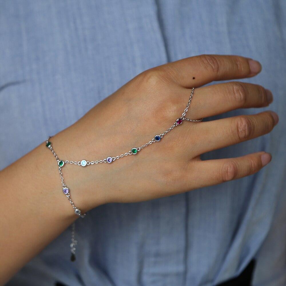 Рабский браслет с кольцом ручной браслет ювелирные изделия cz станция цепь Красочные радужные цвета ободок украшения cz романтические женские ювелирные изделия