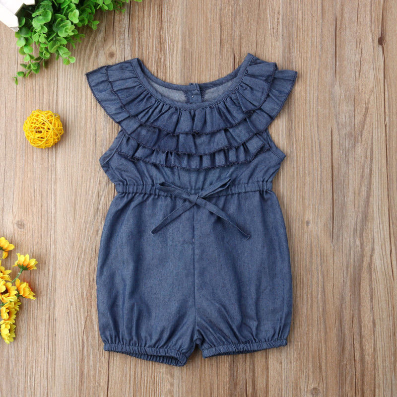 Toddler Kids Baby Girl Princess Ruffle Denim   Romper   Jumpsuit Outfits Clothes