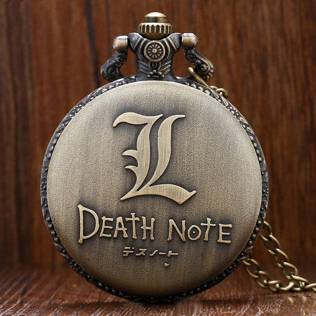 Death Note Theme Quartz Pendant Pocket Watch With Necklace