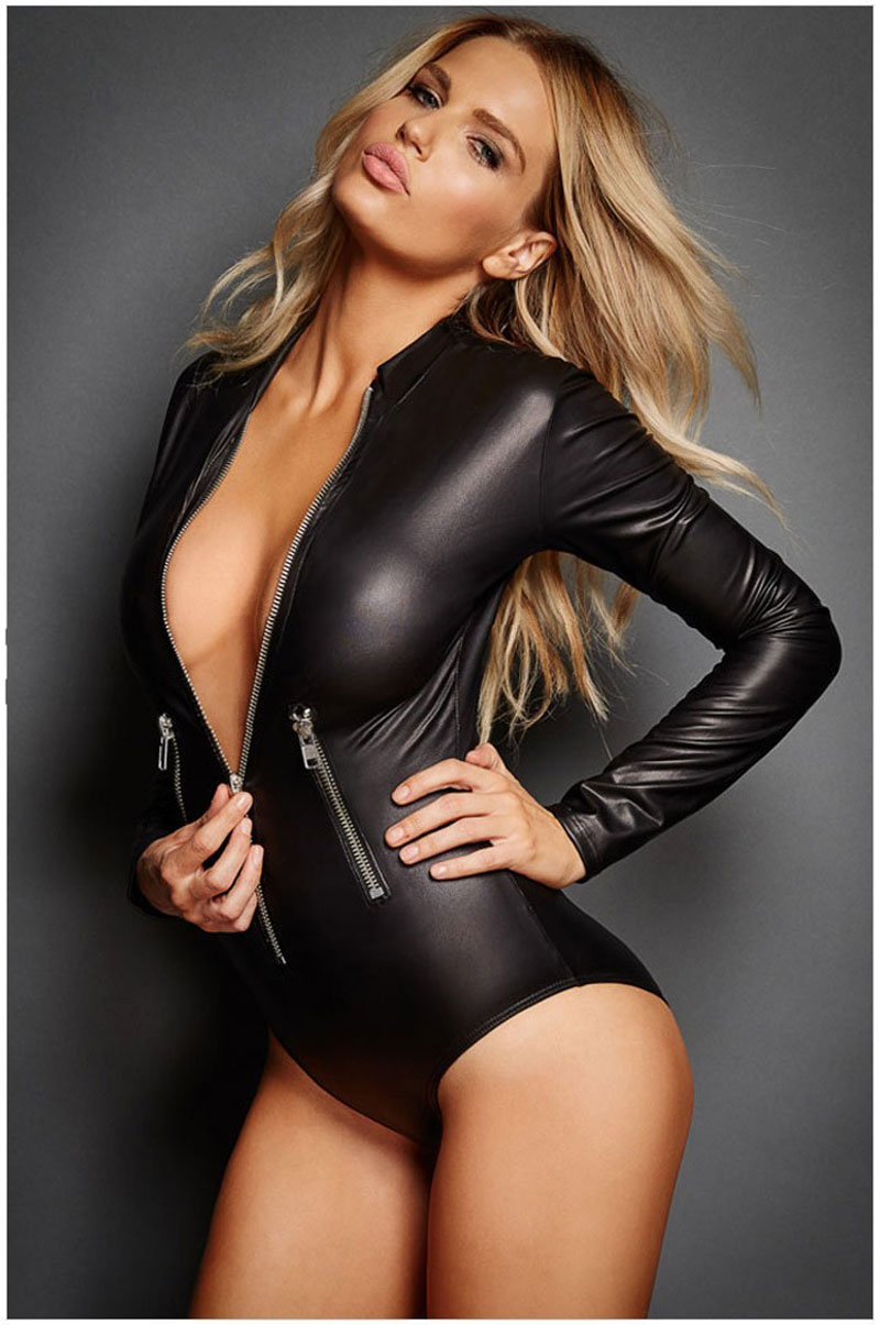 Hot Sexy High Cut PU Faux Leather Turtleneck Bodysuit Thong Swimsuit Longsleeve Zipper Open Bodysuit Swimwear Club Wear FX1034 ...