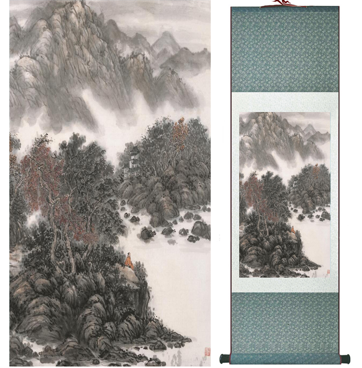 landscape painting Home Office Decoration Chinese scroll painting mountain and River paintingPrinted painting042202