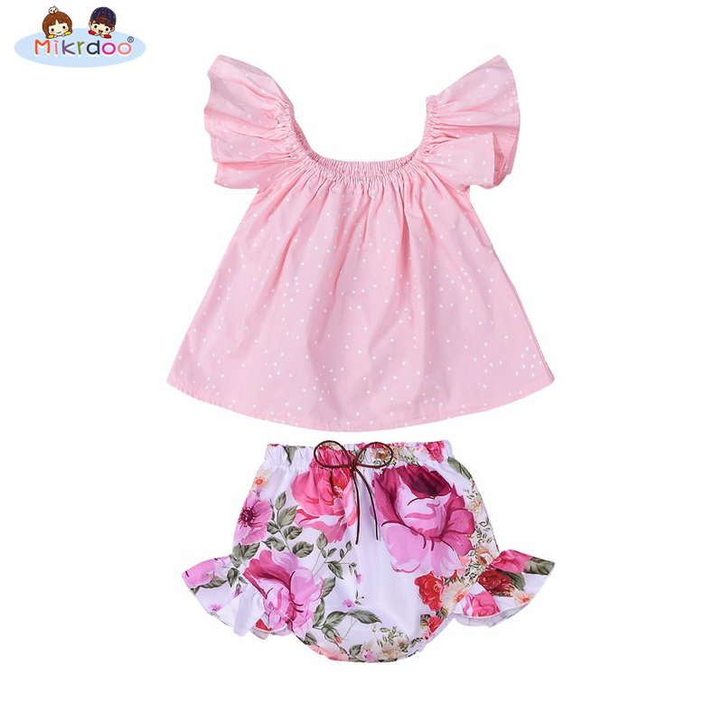 Mikrdoo Baby Girl Hot Clothes Bewborn Infantil Pink Tops Dots Dress Angels Sleeves Flowers Pants Shorts Suits Sweet Cute Outfits