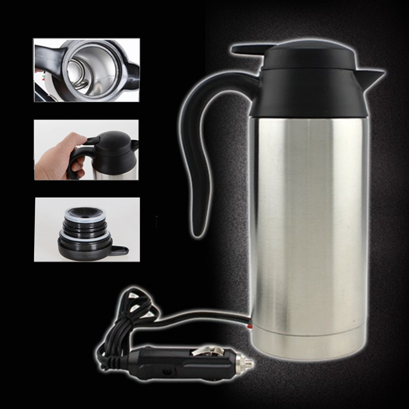 12V Car Based Heating Travel Thermoses Stainless Steel Cup Kettle 750ml Coffee Tea Heated Mug Motor Hot Water For Car Truck Use