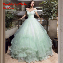 custom made romantic light green Wedding Dresses 2017 cap sleeve ball gown tulle women marry bridal gown vestido de noiva