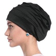 Подарок для мусульманских женщин головной убор шапки мягкий эластичный цветок хиджаб тюрбан шапка твердый хлопок исламский, арабский шапка тюрбан Внутренний капот
