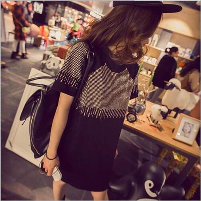 Plus Size Women Summer Dresses 2019 Fashion Casual Short Sleeve Vestidos Sexy Rivet Diamonds Dress Shirt Loose Black Dress QV786