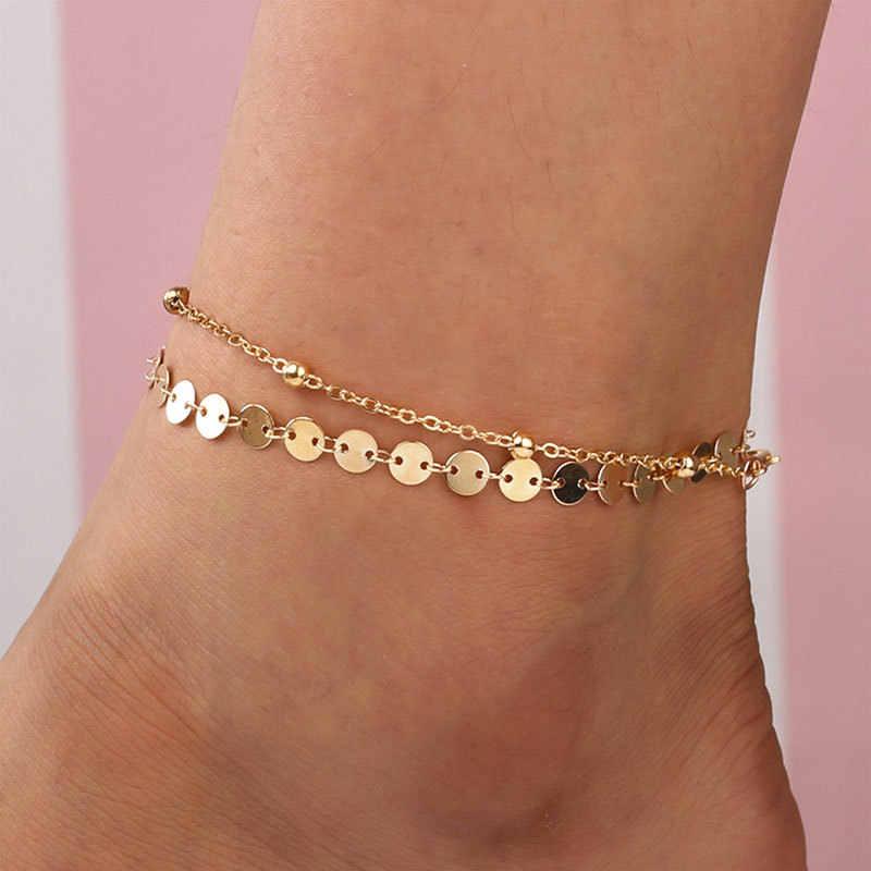 Obrączki dla kobiet shell biżuteria na stopy Summer Beach bransoletka boso kostki na nogawkach pasek na kostkę akcesoria czeskie