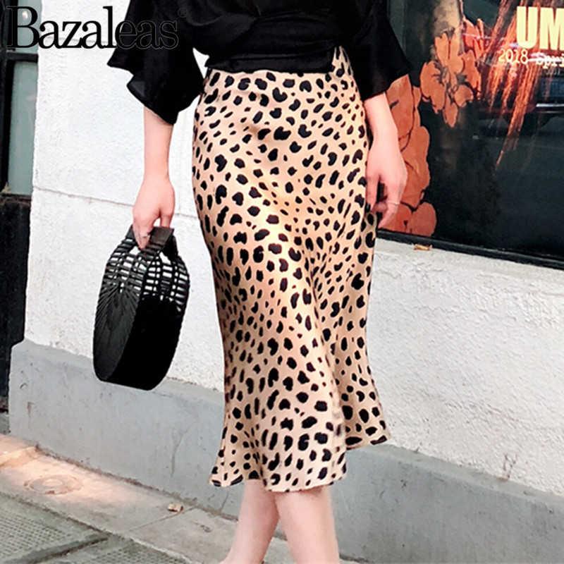 879f7bffc3e0 Bazaleas popular summer leopard print Women skirt Female vintage summer  satin quality skirts Fashion midi skirt
