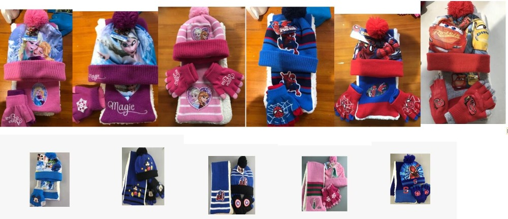 1set Mickey Avengers Princess Knit Beanie Hat Children Christmas Thick Winter Knitted Scarf Gloves Hat Set Party Kids Gifts 2-8Y