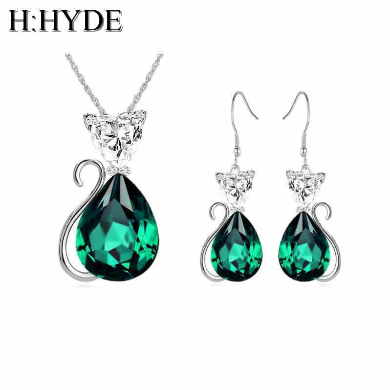 H:HYDE 8 Colors Cute Cat Stud Earrings Pendant Necklace Blue/Green/Red Crystal CZ Stone Jewelry Sets For Women Children Girls