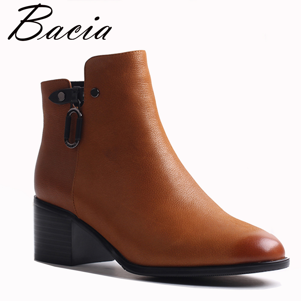 Bacia Genuine Leather Boots Short Plush Women Shoes YellowSimple Style Ankle Boots With Zipper Handmade High Quality ShoesVXB019 bacia genuine leather boots short plush women shoes black simple style ankle boots with zipper handmade high quality shoes vd021