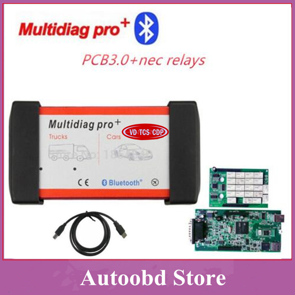 New 2015.R3 Green Board nec relays 3.0pcb Multidiag Pro+ For Cars/Trucks And OBD2 With Bluetooth Same As VD TCS CDP Pro DHL Free dhl free multidiag pro green single board pcb vd tcs cdp pro 2014 r2 keygen bluetooth full set 8pcs car cable for cars trucks