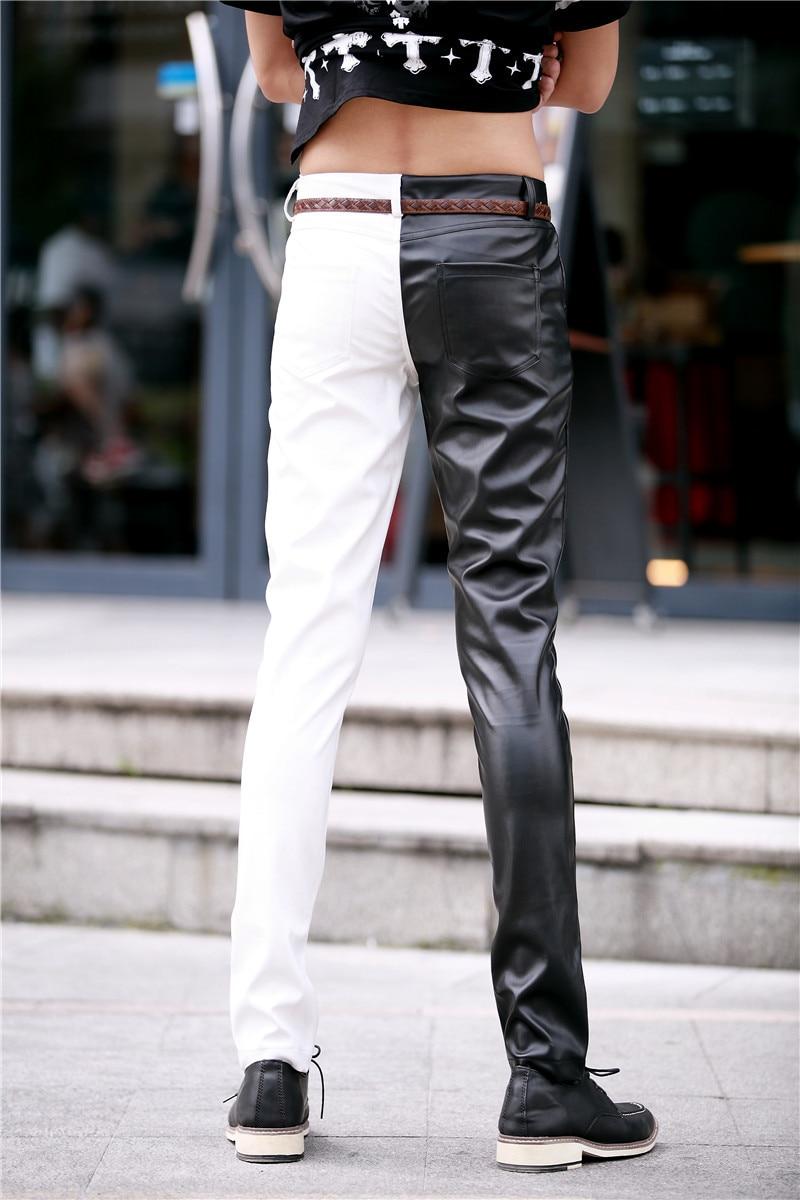 Ночной клуб Арена рок Черно-белый личность мужские домашние штаны формы жесткие локомотив кожаные Штаны певица костюмы