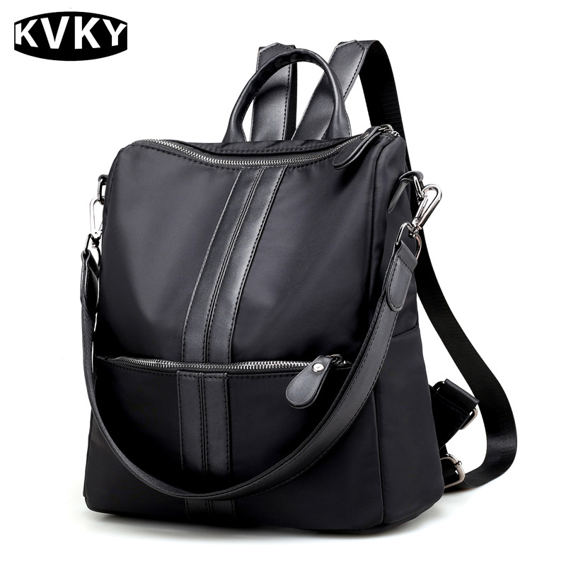 KVKY New Hot Nylon Backpack Women Casual School Bags For Teenagers Girl Rucksack Woman Double Shoulder Bag Laptop Backpack WH531 women handbag shoulder bag messenger bag casual colorful canvas crossbody bags for girl student waterproof nylon laptop tote
