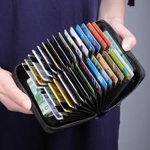 NewBring 30 Card Slots Organ Genuine Leather Card Holder Big Capacity Organizer Purse Nederlands Passport Cover Travel Wallet