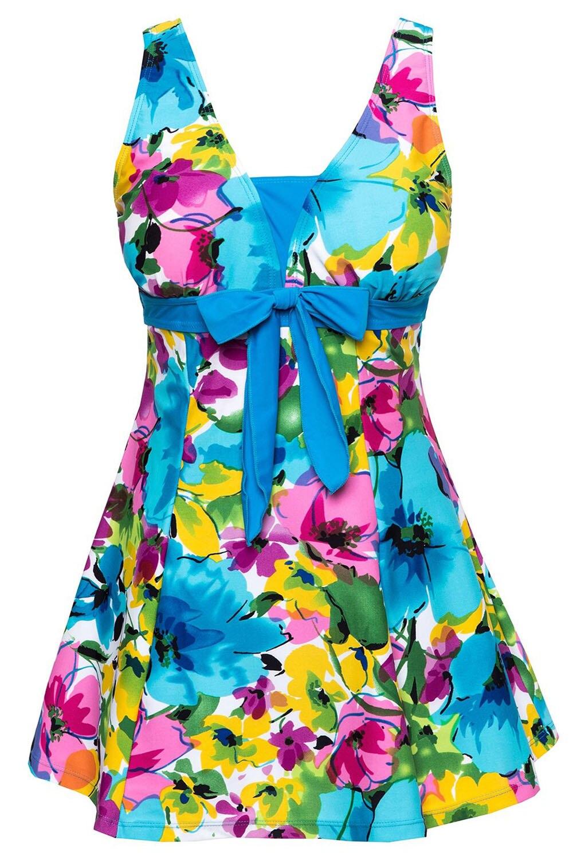 Frauen Bademode Badeanzug Push-Up Badeanzug Ein Stück Schwimmen kleid See Blau