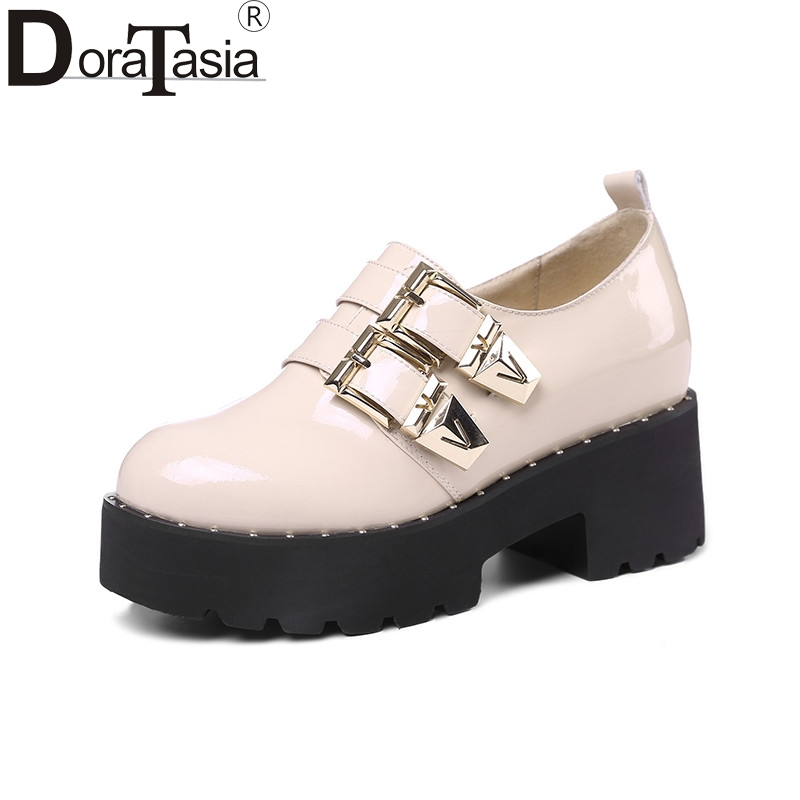 DoraTasia 2018 Spring autumn brand patent flat platform shoes woman slip-on buckle height increasing women date casual shoes free shipping spring autumn women s flatform casual all match board shoes height increasing shoes
