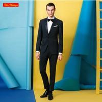 Italy Fabric Marzoni Wool Silk Men S Business Designer Wedding Suit Bespoke Tailor Made MTM Black