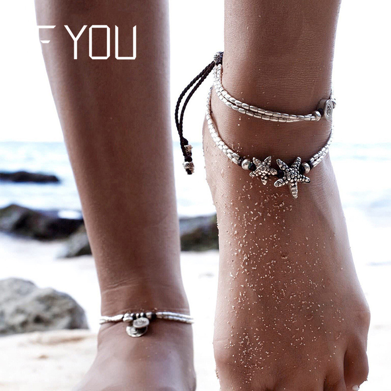 IF YOU Bohemia Double Starfish Bead Anklet Foot Jewelry Women Ankle Leg Jewelry Fashion Summer Beach Statement Chain Anklets bead