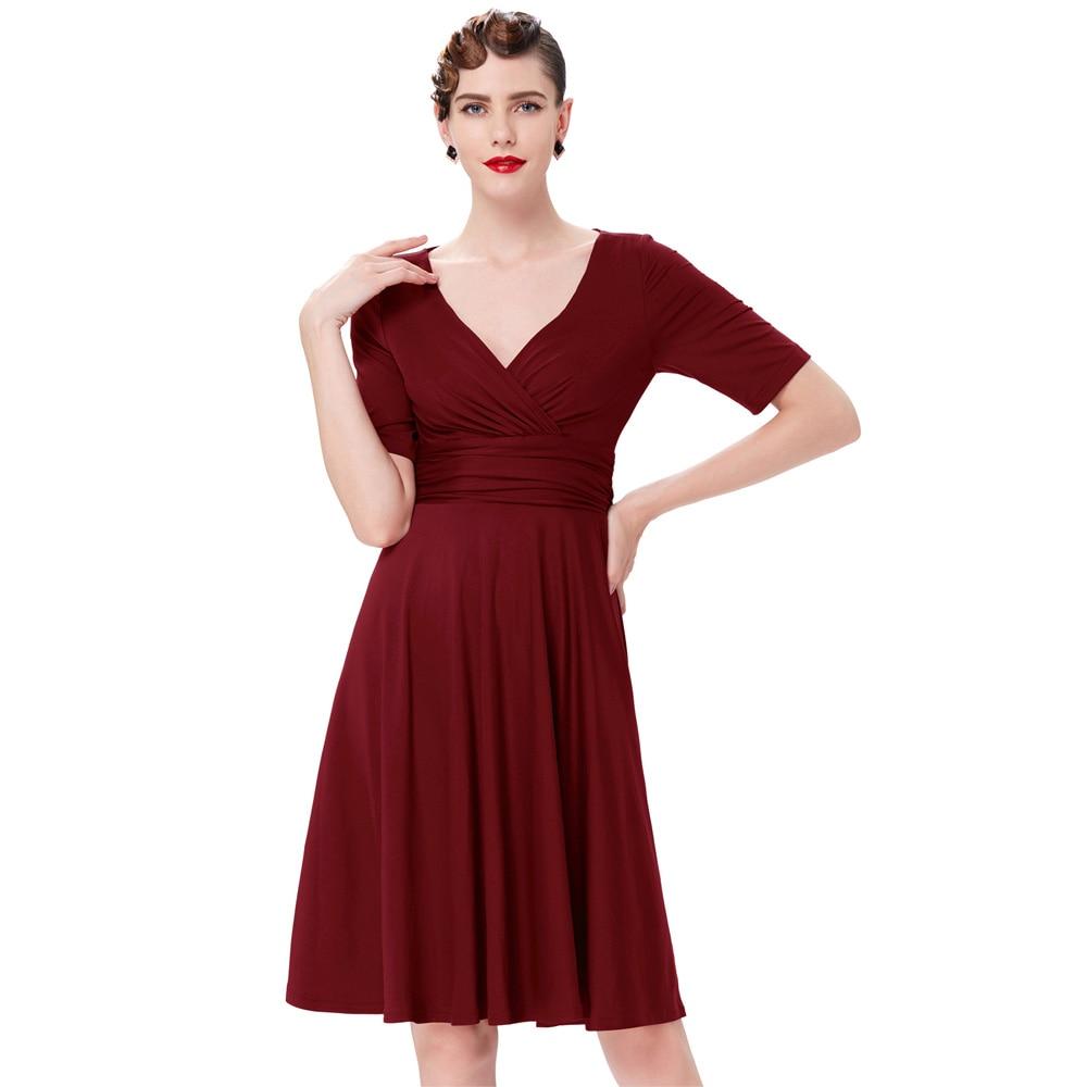Frauen Casual Kleid Sommer 2018 Retro Vintage V-ausschnitt Damen Tunika  Kurzarm Tragen zu Arbeiten 95d2cb6614