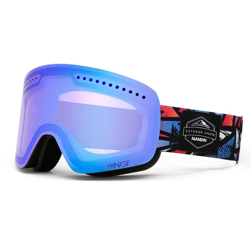 NANDN Unisexe Ski Lunettes Double UV Anti-brouillard Big Ski Masque Lunettes Femmes Hommes Ski Neige Snowboard Lunettes Multifonction lunettes - 5