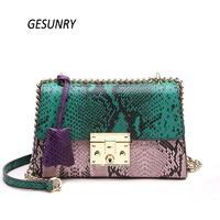 Women Crossbody Bags Genuine Leather Female Classic Serpentine Shoulder Bags Ladies Leather Messenger Bag
