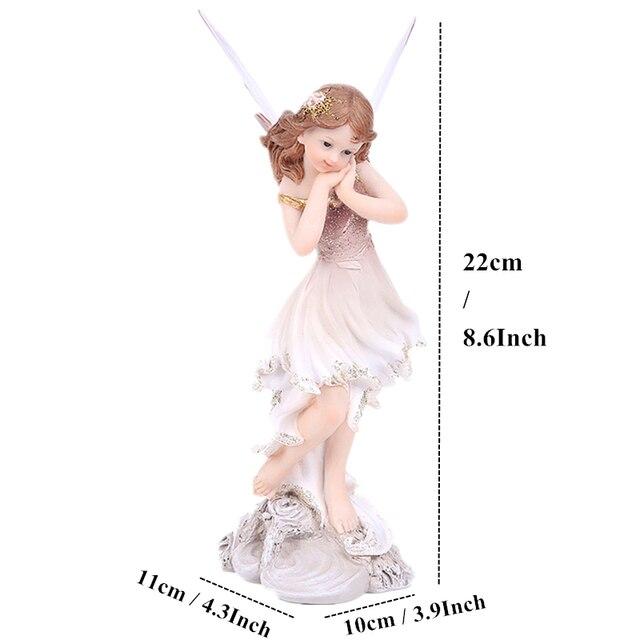 Unicorn Horn Fairy Angel Figurines Lovely Girl Flower Fairy Statue  2