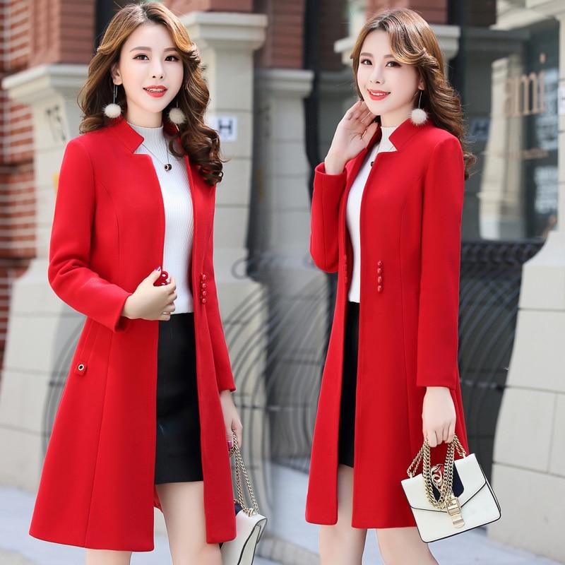 Coréenne Longue Mince Manteau Veste rose 2018 Noir De Section Mode orange La Stand gris col D'hiver Laine rouge Marée Femmes Rq848Xzw